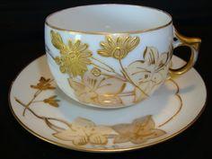 Unique Large Limoges Porcelain Cup & Saucer ~ Hand Painted with Gold Enameled Flowers ~ A Klingenberg Limoges France 1880-1890