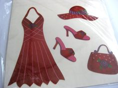 Red dress iron on transfer, Red Hat Society, red hat lady, craft supplies, Lady in red