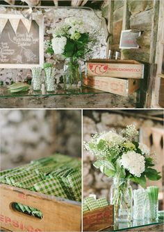 Green and White Themed Bar/Drink Station - cute gingham beer holders!!