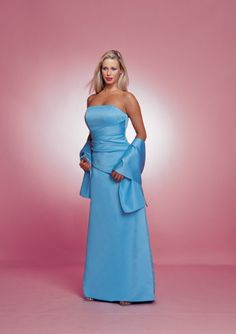High quality 2015 Satin Strapless Floor Length Ruched Shawl Strapless Blue…