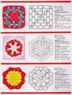 Crochet Gratis, Crochet Chart, Crochet Motif, Knit Crochet, Crochet Patterns, Crochet Doilies, Granny Square Crochet Pattern, Granny Square Tutorial, Hippie Crochet