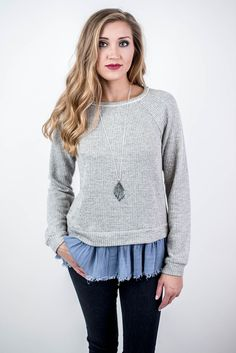 Take on a cute look in the Grey Denim Hem Sweater this fall! Pair with some dark skinnies and a pendant necklace for a campus class outfit or everyday outfit! Grey Denim Hem Sweater - Single Thread Boutique, $42.00 #grey #denim #hem #sweater #unique #classic #long #sleeves #crew #neck #ruffled #denim #skirt #frayed #edges #dark #skinny #jeans #long #necklace #cute #womens #fashion #trendy #fall #winter #singlethreadbtq #shopstb #boutique
