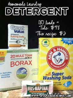 Homemade Laundry Detergent - Can you believe this only costs $1 for 90 loads and it makes up to 600 HE loads?!?!