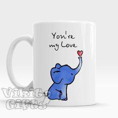 Elephant Mug You're my person coffee mug Romantic by VikitoGifts Elephant Mugs, Elephant Love, White Elephant Gifts, Elephant Keychain, Elephant Stuff, Cute Coffee Mugs, I Love Coffee, Tea Mugs, Coffee Cup