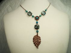 Artisan Hand Forged Copper Leaf and Chrysocolla by JacocaloDesign, $55.00