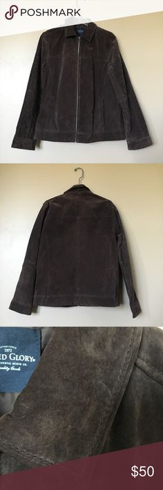 {Faded Glory} Brown Brushed Leather Jacket Excellent condition, never worn brushed leather jacket. 100% leather. Faded Glory Jackets & Coats