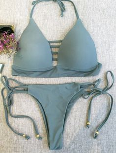 Plunge Haut de bikini et cravate Side Thong Bikini Bottoms