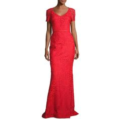 St. John Collection Embroidered Lace Short-Sleeve Gown ($1,995) ❤ liked on Polyvore featuring dresses, gowns, red, lace gown, red evening gowns, short red dress, red ball gown and lace evening gowns