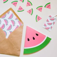 Juicy pink water melon... a perfect theme to set for a party.  These water melon slice invitations are folded like a greeting card with the party details inside.Further items are available to compliment the invitations including cupcake toppers, envelope liners, garlands and lolly bag tags.Each invite comes with a kraft paper envelope with the option of having complimenting liners made.TERMS:Please note turn around time is 2-3 weeks.A minimum of ten invitations per o...