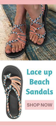 29a394b9db168 Lace up beach sandals.  sandals  summer  beach  shoes Beach Vacation Outfits