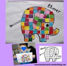 Gaspard 4 ans a collé des carrés de toutes les couleurs sur ELmer. Bravo mon loulou pour ta patience.     Imprimer le coloriage d'Elmer, couper des carrés de toutes les couleurs dans des chutes ...