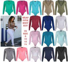 New-Womens-Ladies-Wrap-Over-V-Neck-Plunge-Bodysuit-Long-Sleeve-Stretch-Leotard