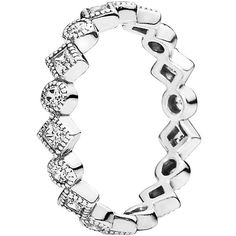 Pandora Ring - Sterling Silver & Cubic Zirconia Alluring Brilliant... (1.030 ARS) ❤ liked on Polyvore featuring jewelry, rings, silver, cubic zirconia jewelry, sterling silver princess cut ring, pandora jewelry, pandora rings and pandora jewellery