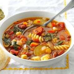 Over-the-Rainbow Minestrone Recipe -This colorful soup is vegetarian-friendly and full of fresh flavors from a rainbow of vegetables—Crystal Schlueter, Northglenn, Colorado Slow Cooker Soup, Slow Cooker Recipes, Crockpot Recipes, Soup Recipes, Vegetarian Recipes, Cooking Recipes, Healthy Recipes, Chili Recipes, Cooking Tips