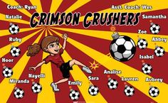 Crushers-Crimson-40975 digitally printed vinyl soccer sports team banner. Made in the USA and shipped fast by BannersUSA. www.bannersusa.com