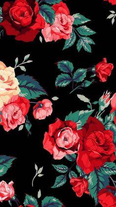 Roses prints on black background walpaper phone, floral wallpaper phone, iphone wallpaper art, Tumblr Wallpaper, Flower Wallpaper, Screen Wallpaper, Pattern Wallpaper, Wallpaper Backgrounds, Mobile Wallpaper, Wallpaper Lockscreen, Iphone Backgrounds, Wallpaper Desktop