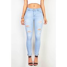 Pink Ice Torn Cruiser Skinny Jeans ($30) ❤ liked on Polyvore featuring jeans, pants, denim, slim jeans, stretchy skinny jeans, distressed jeans, destroyed jeans and cuffed skinny jeans