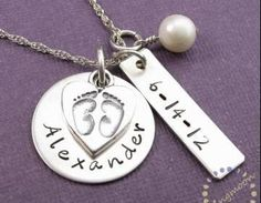 Mother Charm Necklace: Handstamped ..