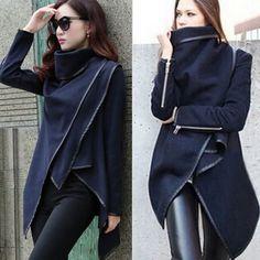 Femmes Style Punk laine Automne Hiver Zipper PU Cuir Trench Coat Veste Manteau