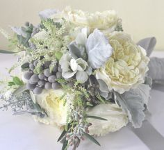 My favorite bouquet so far... dusty miller and brunia berries for the gray accents.