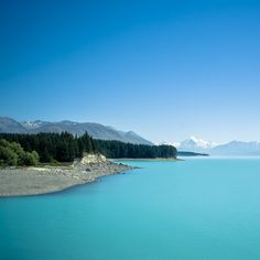 . blue / turquoise / aqua must see lake Pukaki  South Island New Zealand Mount Cook