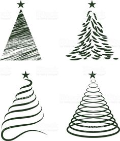 Various Christmas Tree Collection - Illustration royalty-free stock vector art