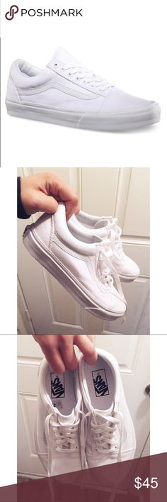 Vans Old School Canvas True White Vans Old School white canvas sneakers in size women's 6.5. Worn once but in perfect condition! Bundle to save😊💘 Vans Shoes Sneakers