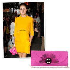 Wallet-Friendly Statement Accessories  Hot Pink Clutch  Metal bag, Bebe, $30; bebe.com.
