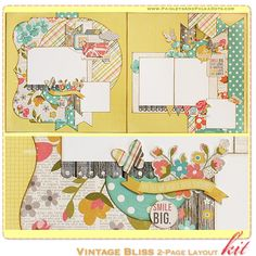 paisleysandpolkadots.com Vintage Bliss scrapbook layout kit - comes complete with instructions - featured on scrapclubs.com