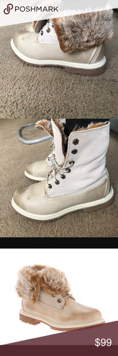 Timberlands Faux Fur Fold Down Beautiful * Warm * Comfortable * Shows signs of wear and tear on fur lining * Multi Way * Leather Lower * Suede Upper * Willing to negotiate price * Purchased with stain finish on toe of pair Timberland Shoes Lace Up Boots