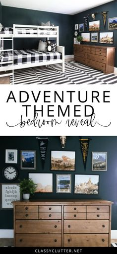 Adventure Themed Bedroom Reveal Adventure Themed Bedroom Reveal Classy Clutter Boys Rooms Everything you need to know to create this Boys Bedroom affiliate nbsp hellip Boys Bedroom Themes, Big Boy Bedrooms, Bedroom Boys, Boys Bedroom Ideas With Bunk Beds, Navy Boys Rooms, Boys Room Paint Ideas, Little Boy Bedroom Ideas, Boy Rooms, Kids Rooms