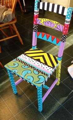 Funky Decor, a must attempt pin transformation, funky home decor thrifty stores number 1940773951 funkyhomedecorthriftystores is part of Painted furniture - Painted Wooden Chairs, Whimsical Painted Furniture, Hand Painted Furniture, Funky Furniture, Recycled Furniture, Colorful Furniture, Paint Furniture, Hand Painted Stools, Painted Rocking Chairs