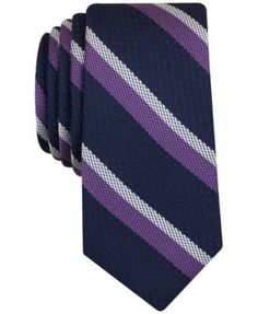 Add a refined, regimental look to your work outfit with this handsome Denton slim tie from Bar Iii. Its rich tones and classic diagonal stripes can instantly embolden even the most sedate of work atti