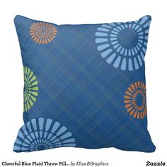 Cheerful Blue Plaid Throw Pillow-Add your photos and text to this bright and cheerful pillow. Easily personalize with your photo. Simply click on the add image button and upload your photo.