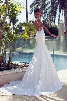 2015 Fashion Inbal Dror Bridal Gown Spaghetti Strap Pearls Sexy White Lace Backless Mermaid Wedding Dresses Vestidos De Noiva | Cool Wedding Dresses And More - Buy Now