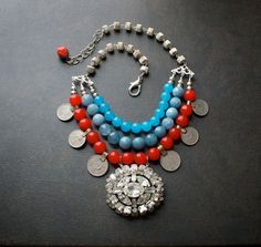 Candy Jade Multi Strand Statement Necklace with by BevaStyles
