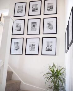 DIY Tutorial Gallery Wall (with free printable template!) DIY Tutorial Gallery Wall (with free printable template!) Kiana Quintana KianaIQuintana Home Small Photo gallery wall display ideas &; Photo Wall Layout, Gallery Wall Layout, Picture Frames On The Wall Stairs, Photo Gallery Hallway, Photo Wall Design, Photo Wall Decor, Picture Walls, Stair Photo Walls, Stair Walls
