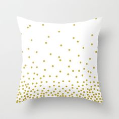 Gold polka dot Throw Pillow by cafelab - $20.00