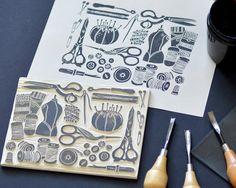 sewing block, printmaking, andrea lauren, andrea lauren design, linocut, relief print