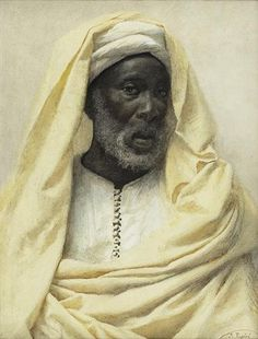 AFRICAIN VÊTU D'UNE DRAPERIE JAUNE PALE [JOSE TAPIRO Y BARO; AFRICAN MAN DRESSED IN YELLOW; WATERCOLOUR SIGNED] . by Spanish artist José Tapiro y Baro (1830-1913).
