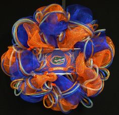 Gator Fans, Gator Decor, College Football, Sports Decor, Flordia, Poly Mesh, Deco Mesh Wreath - Item 601. $55.00, via Etsy.
