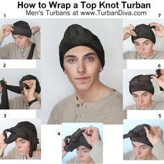 Men's Turban Tutorial, How to Wrap a Turban Topknot