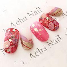 #Summer Red Kimono #nails #nailart