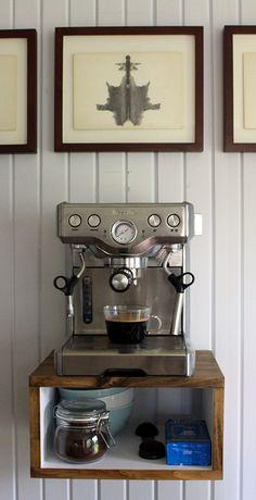 Estante de la máquina espress flotante / stand / cabinet / / estante de pequeño electrodoméstico de máquina de café / consola / / nogal oscuro de la mancha