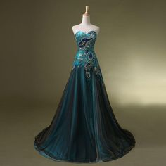 New Stock Peacock Prom Dress Bridal Wedding Gown Formal Evening Party Dresses