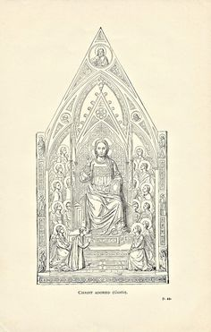 """1896 Print of Giotto's """"Christ Adored"""" found in Schools and Masters of Painting from an Ephemera Grab Bag on Artists and Their Work."""