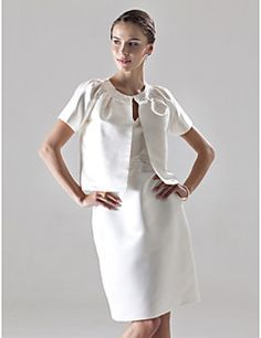 Lanting Bride® Mi-long Satin Robe de Demoiselle d'Honneur - Fourreau / Colonne Col en V Grande Taille / Petite avec Billes