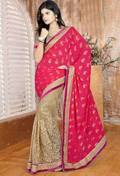 Tempting Beige and Shocking Pink Saree