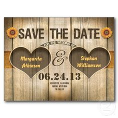 country style save the date postcard with sunflower blossoms and rustic wood background.