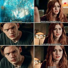 Clary realizes Jonathan is still alive. Shadowhunters Clary And Jace, Clary E Jace, Shadowhunters Series, Clary Fray, Malec, Cassandra Clare, Maxim Roy, Cassie Clare, Dominic Sherwood